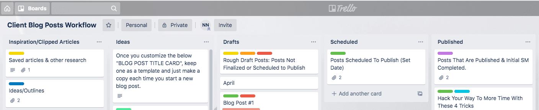 Trello Screenshot Client Blog Board