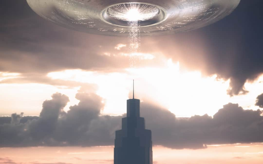 Creating Realism in your Fiction blog featured image tower with alien ship hovering over