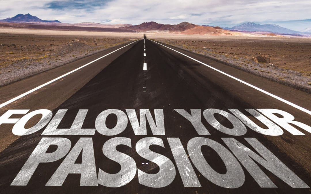 4 Ways to Rediscover your Passion for Writing blog featured image road with follow your passion painted on the asphalt