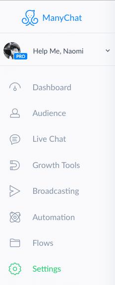 Screenshot: ManyChat chatbot main menu settings