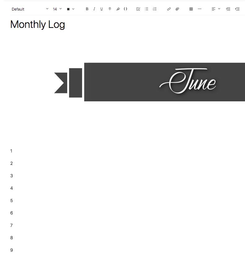 Evernote Screenshot Set up Month