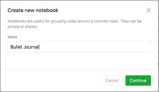 Evernote Screenshot creating a new notebook