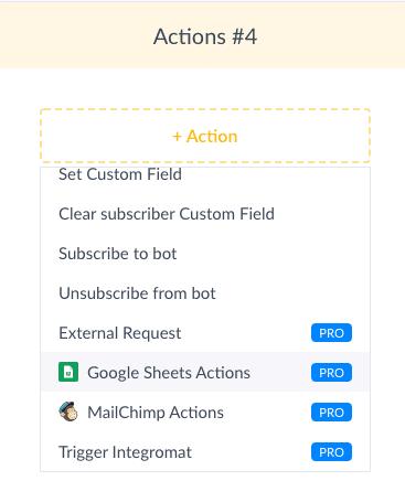 ManyChat Screenshot Google Sheets Actions