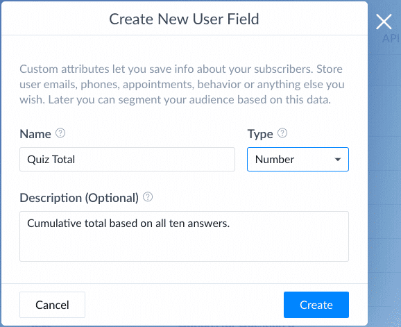 Screenshot ManyChat Create Number field for test