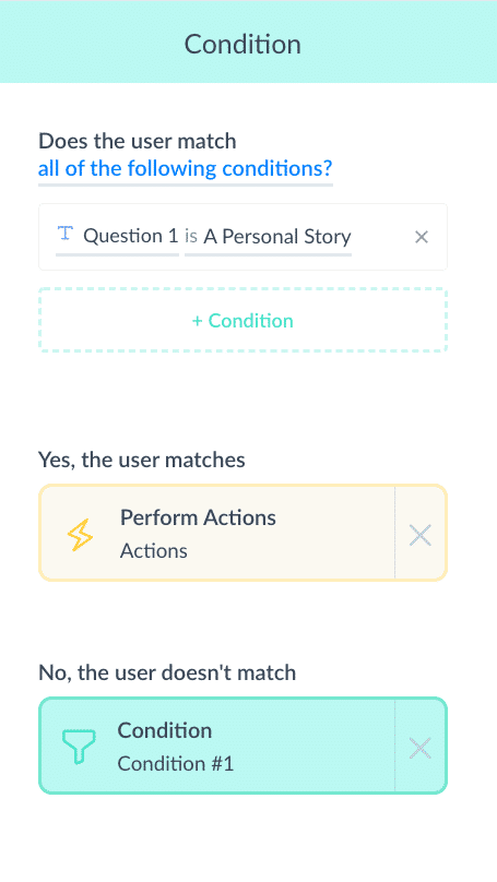 Screenshot ManyChat Question options what next