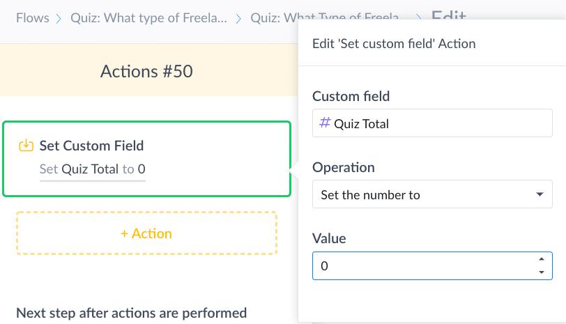 Screenshot ManyChat Reset Quiz Total to Zero