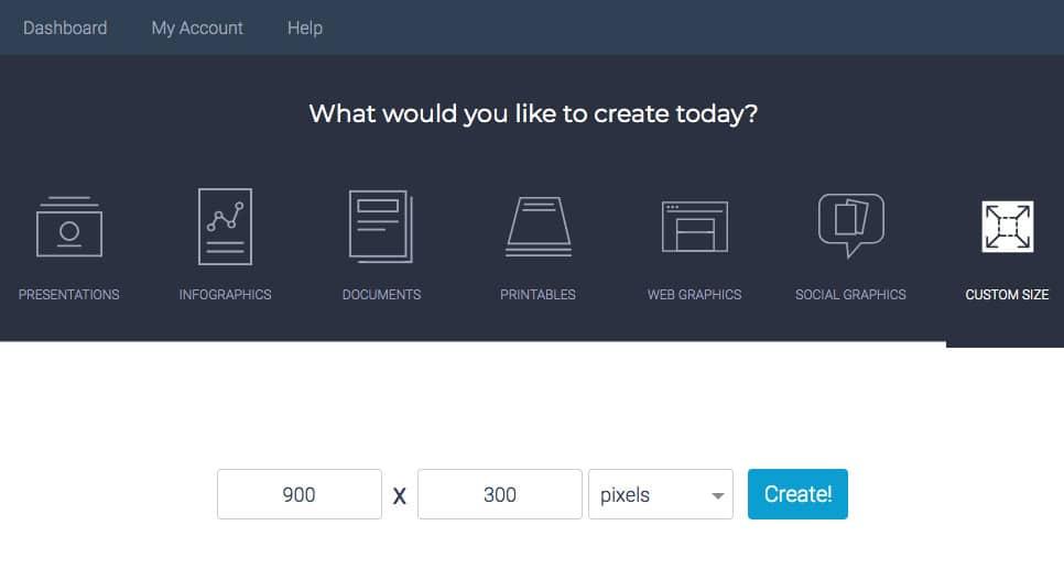 Visme Screenshot choose image size and type