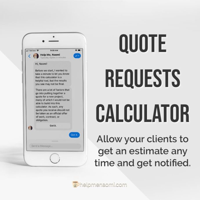 ManyChat template ad mockup - quote request calculator