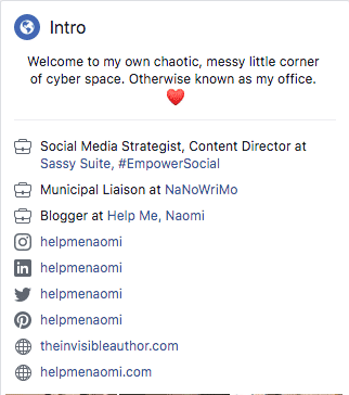 Facebook Personal Intro Screenshot