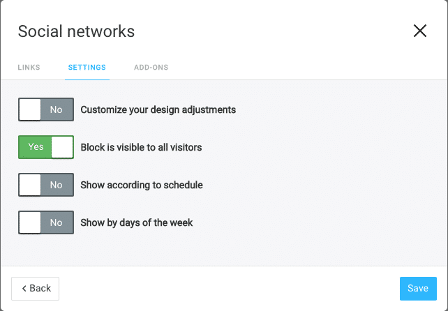 Taplink Screenshot Social Networks Block settings