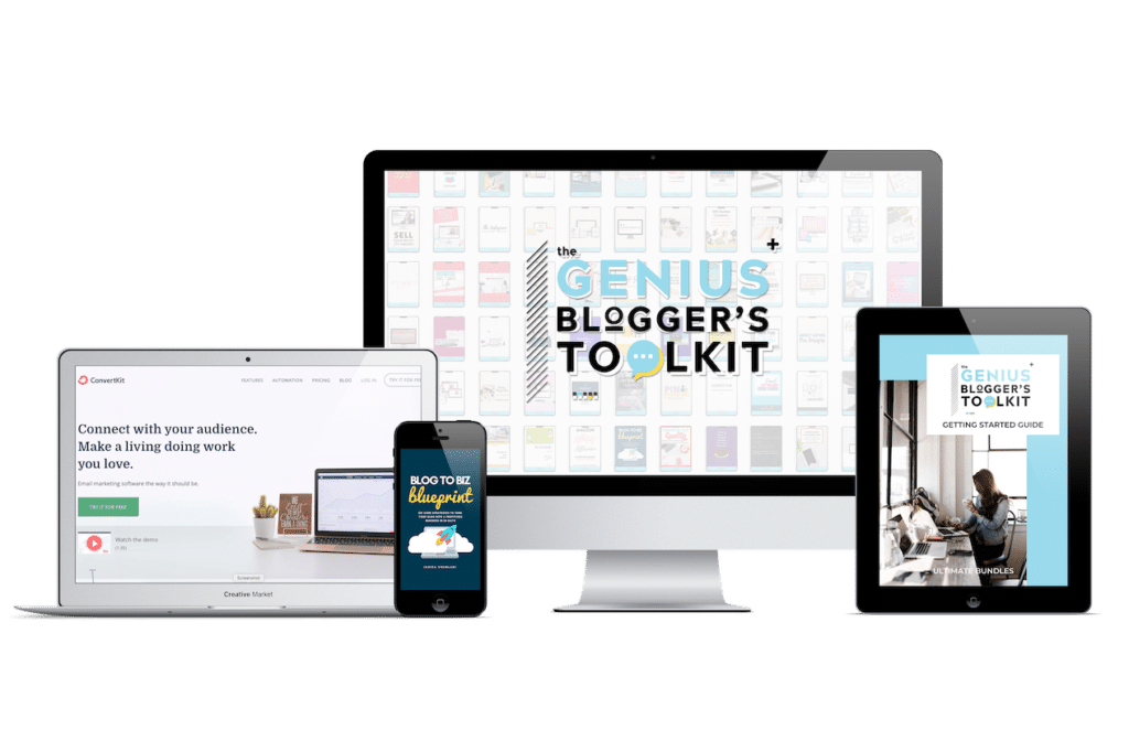 The Genius Blogger's Toolkit featuring mockup photos of included products into computer and mobile screens.