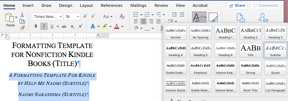 Microsoft Word Screen Shot Apply Subtitle Format