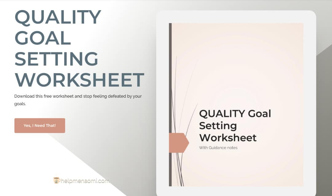 QUALITY Goal Setting Worksheet Ad Image