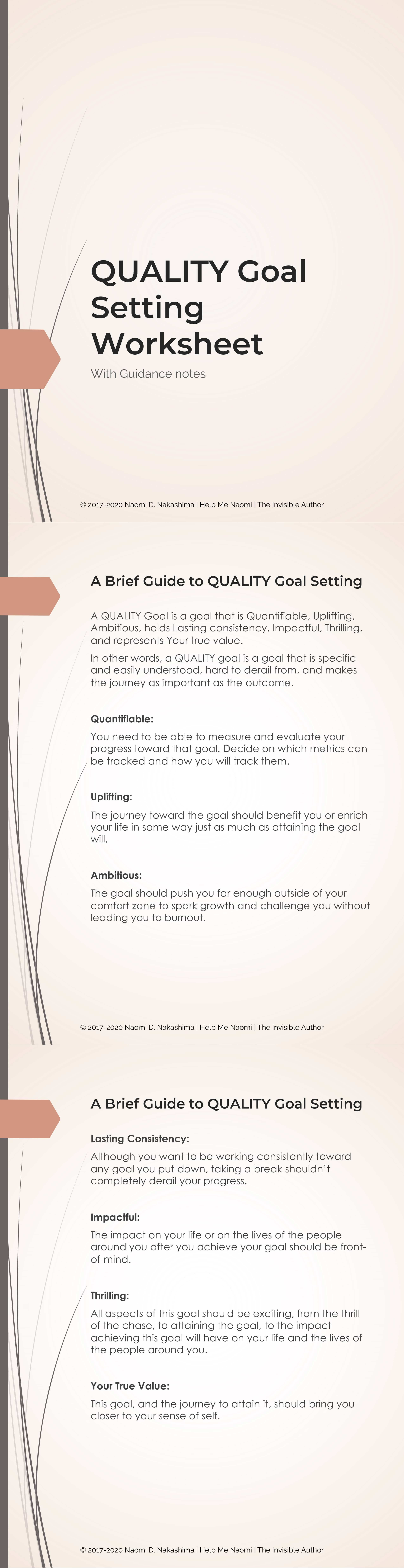 QUALITY Goal Setting Worksheets Preview