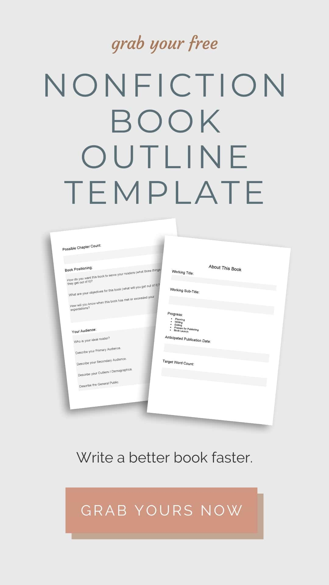 Grab your Free Nonfiction Book Outline Template Here sidebar ad image