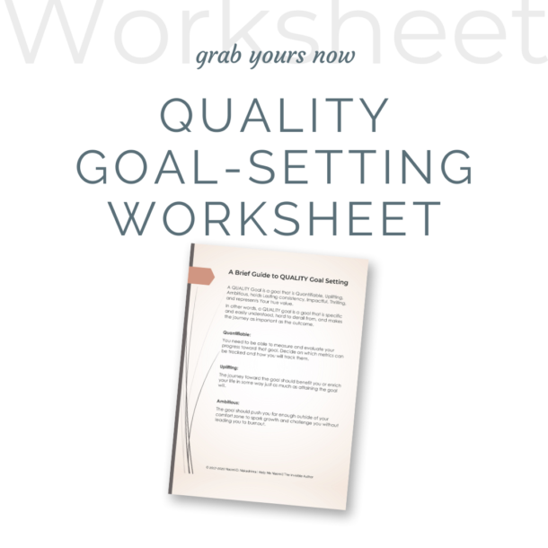 QUALITY Goal Setting Worksheet mockup popup ad