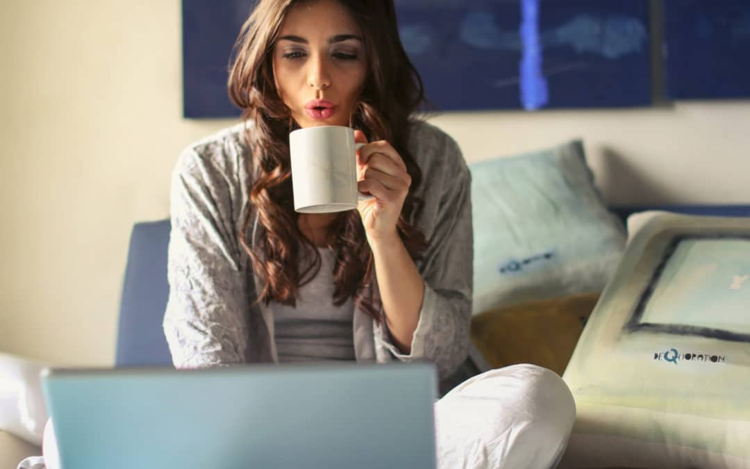 Using the new Save the Cat Software for Story Structure featured image woman sipping on coffee with her laptop