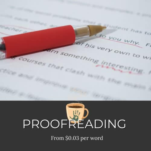 Proofreading Services from $0.03 per word ad mockup with red pen over type
