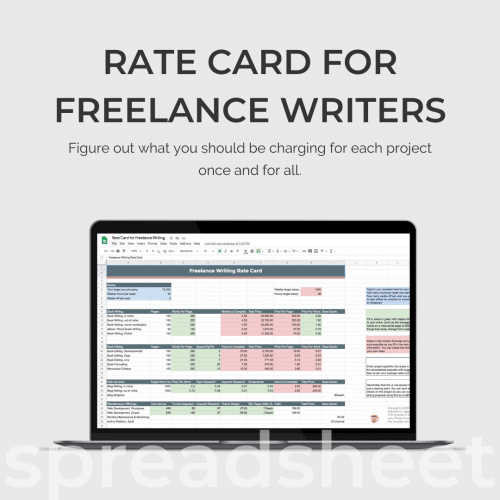 Freelance Writing Rate Card Spreadsheet Mockup Ad