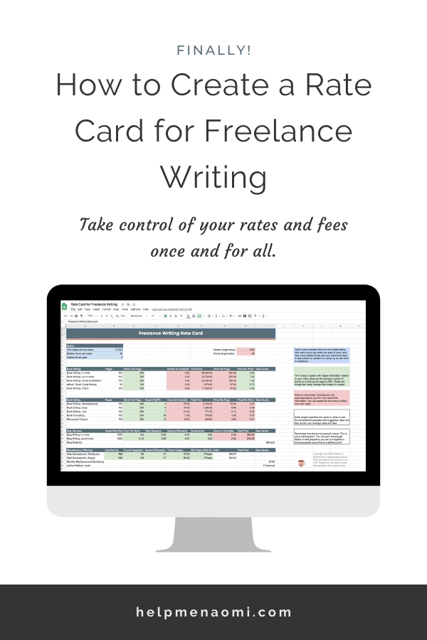 How to Create a Rate Card for Freelance Writing blog title overlay