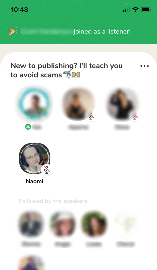 Clubhouse App for Writers Screenshot Follower Joined as a Listener