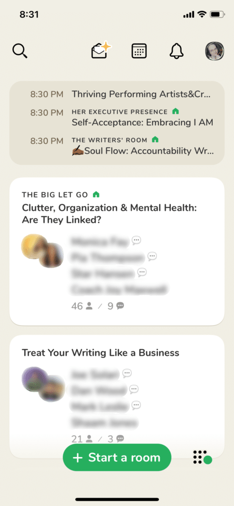Clubhouse App for Writers - Clubhouse Hallway Screenshot