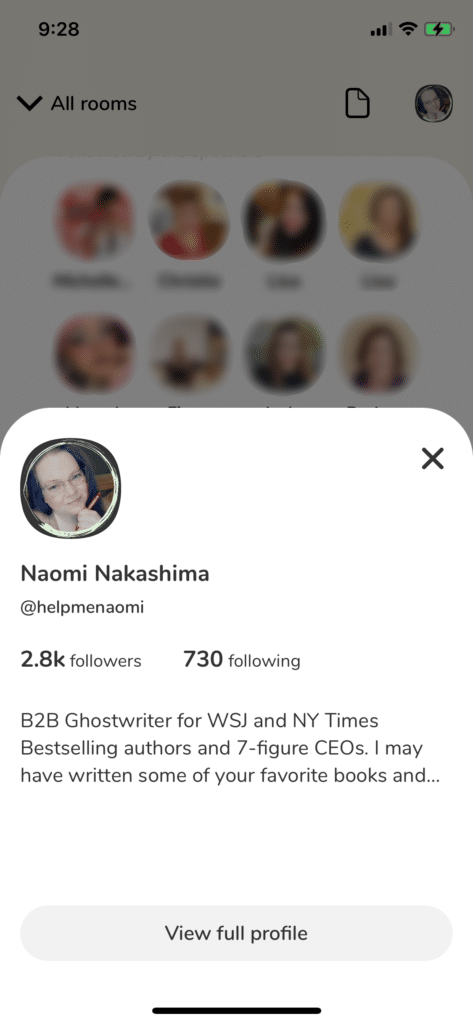 Clubhouse App for Writers App Screenshot Profile Preview