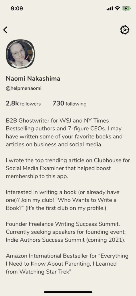 Clubhouse App for Writers Screenshot Profile Top