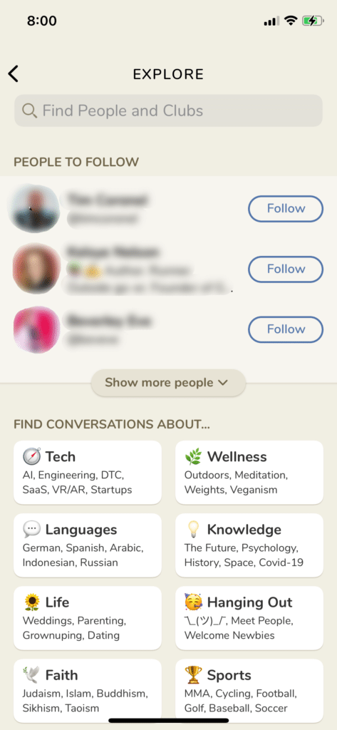 Clubhouse App for Writers Explore and Search screenshot